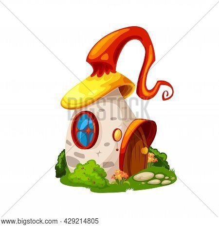 Fairytale Magic Mushroom House, Cartoon Vector Building, Gnome Dwelling. Fairy Tale Elf Home With Cu