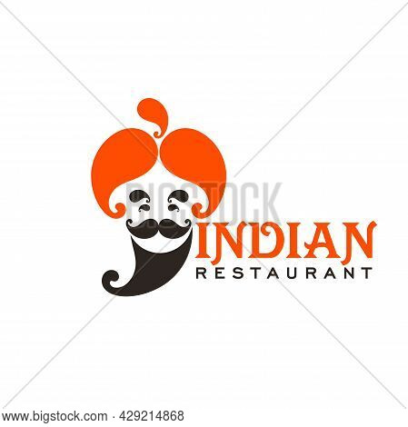 Indian Cuisine Restaurant Icon. Vector Chef With Orange Turban, Black Mustache And Beard. Traditiona