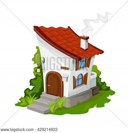 Cartoon Fairytale Elf Or Dwarf House, Vector Fantasy Dwelling For Fairy Or Gnome. Stone Home With Wo