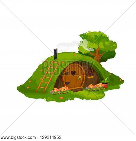 Fairytale Hobbit Or Dwarf House, Vector Home Under Green Hill. Fairy Dwelling With Round Wooden Door