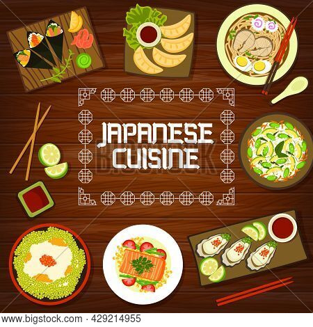 Japanese Cuisine Menu Cover, Asian Food Dishes And Japan Oden Bowls. Traditional Japanese Dinner And