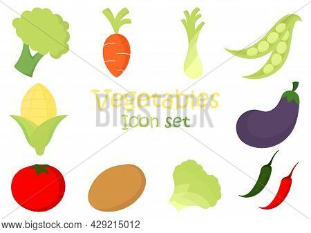 A Collection Of Fresh Vegetable Illustrations Consisting Of Broccoli, Carrots, Scallions, Chickpeas,