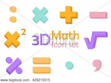 A Collection Of Illustrations Of Symbols In Mathematics With 3d Designs, With Simple And Modern Desi