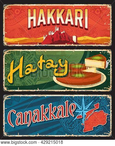 Hakkari, Hatay And Canakkale Il, Province Plates, Vector Banners Of Touristic Turkish Landmarks With