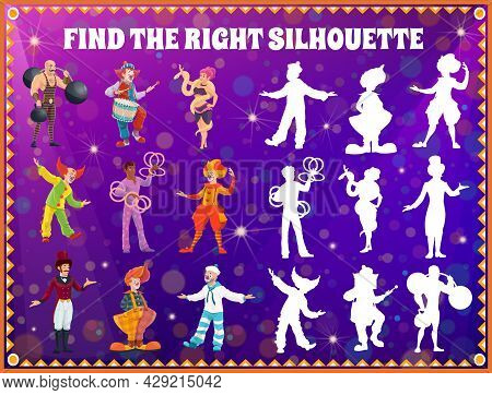 Shadow Match Kids Game With Circus Performers. Find Right Silhouette Education Game, Memory Puzzle A