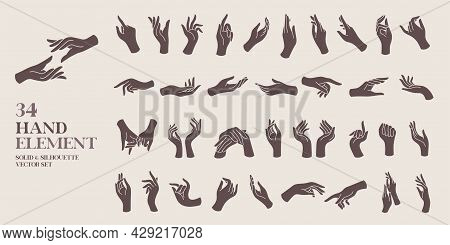 Human Hand Element Solid And Silhouette Vector Illustration Set. For Decorative,logo,card,invitation