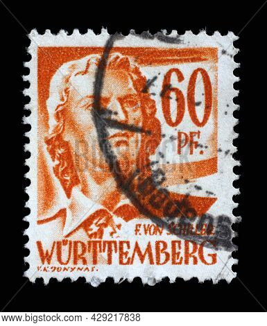 ZAGREB, CROATIA - JUNE 22, 2014: Stamp printed in Germany, French Occupation of Wurttemberg shows Friedrich von Schiller, poet and writer, circa 1948
