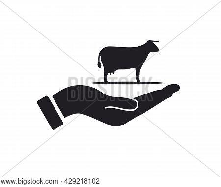 Hand Cow Logo Design. Cow Logo With Hand Concept Vector. Hand And Cow Logo Design