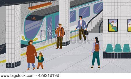 People At Subway Station Vector Illustration Set. Passengers At Metro Platform Waiting For Subway Tr