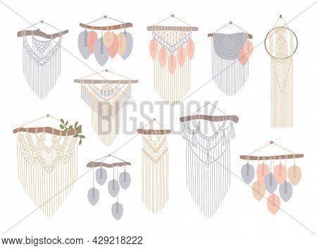 Set Of Macrame Wall Hangings. Boho Style Cord Wall Decor. Handmade Knitted Decoration, Diy Handcraft