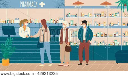 People In Face Mask Buying Drugs In Pharmacy Store Vector Illustration. Pharmacist And Clients In Co