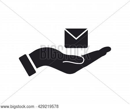 Hand Message Logo Design. Message Logo With Hand Concept Vector. Hand And Message Logo Design