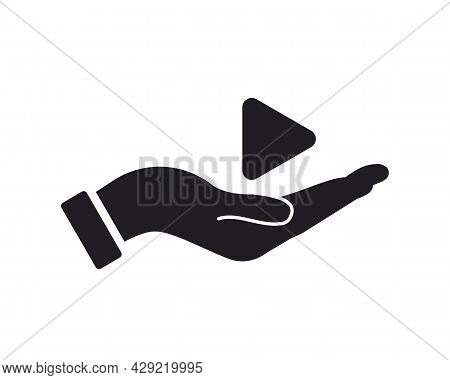 Hand Play Logo Design. Play Logo With Hand Concept Vector. Hand And Play Logo Design