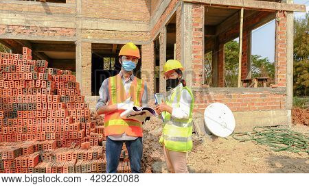 Engineer Contractor Team Meeting Work Safety Plan Industry Project And Check Design At The Construct