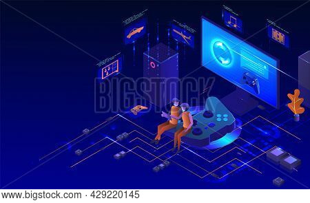 Console Gaming Set. Isometric Desktop Computer Monitor, Game Controller. Play Station Gamer Accessor