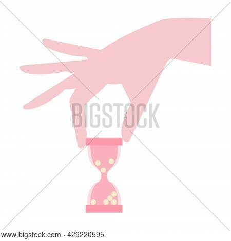 Female Hand Holding Hourglass. Fertility Time Is Coming Out. Age, Pregnancy, Menapause Concepts. Can