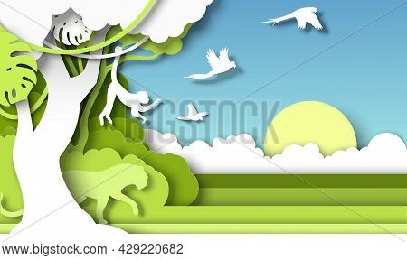 Jungle Rainforest Landscape And Wild Animals Silhouettes, Vector Paper Cut Illustration. Save, Disco