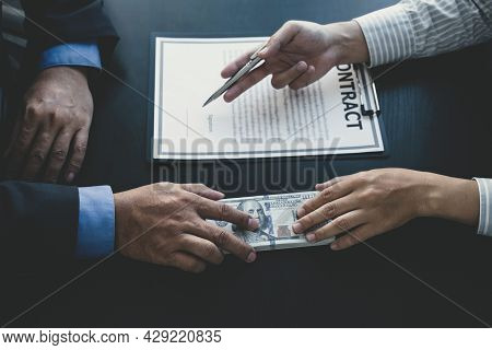 Government Officials Hand Receiving Bribe Money From Businessman, The Concept Of Corruption And Anti