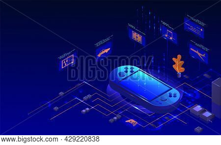 Mobile Handheld Video Game Console, Vector Isometric Illustration. Potrable Gaming Device