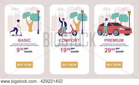 Tariff Subscription Plans. Price Table. Mobile App Screens, Vector Website Banner Template. Ui, Web