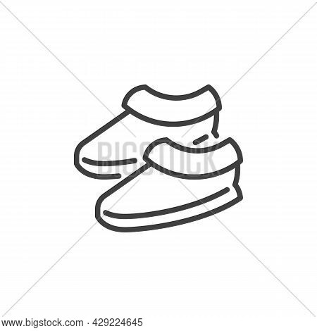 Plush Slippers Line Icon. Linear Style Sign For Mobile Concept And Web Design. House Slippers Outlin