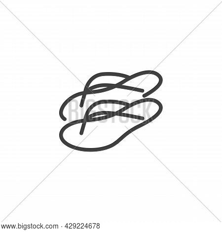Flip Flops Sandals Line Icon. Linear Style Sign For Mobile Concept And Web Design. Summer Beach Slip