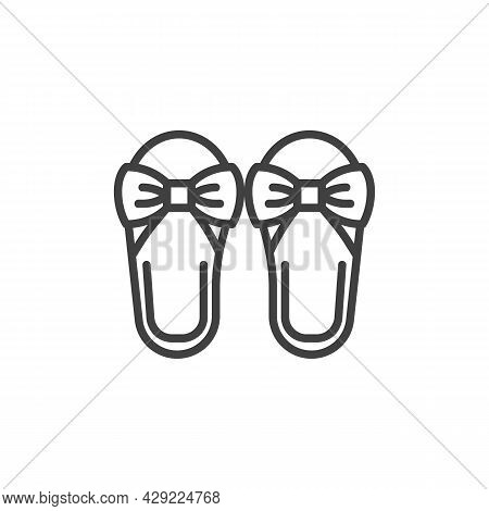 Women Sandals Line Icon. Linear Style Sign For Mobile Concept And Web Design. Ladies Slippers Shoes