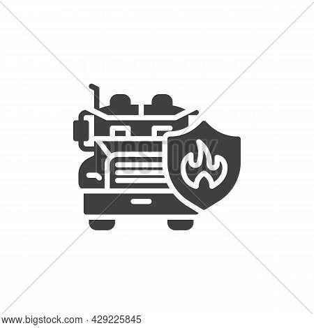 Transportation Insurance Vector Icon. Filled Flat Sign For Mobile Concept And Web Design. Lorry Truc