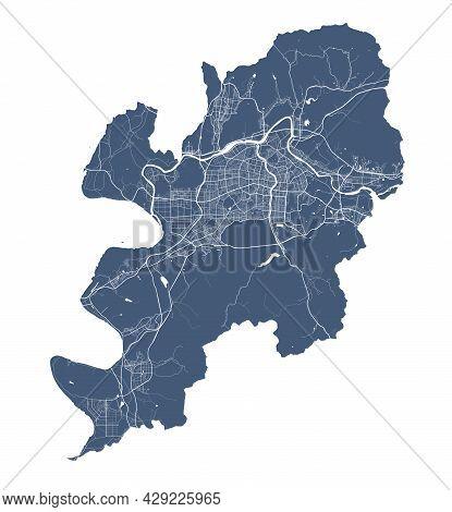 Daegu Map. Detailed Vector Map Of Daegu City Administrative Area. Cityscape Poster Metropolitan Aria