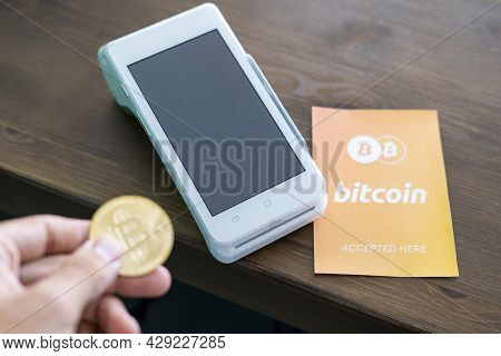 Bitcoin Accepted Here. Bitcoin Btc Logo Accept Payment By Crypto Currency. Digital Money Concept. Vi