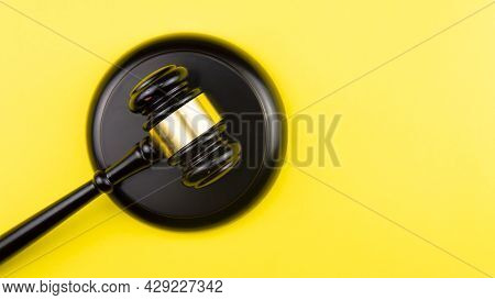 Judge Gavel On Light Background, Top View. Law Concept