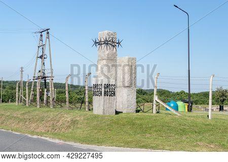 Rogoznica, Poland - June 3, 2021: Monument Gross-rosen At Gross-rosen Museum. Gross-rosen Is Former
