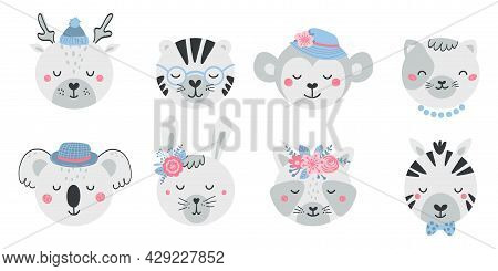 Set Of Cute Animal Faces And Flowers In Flat Style. Collection Of Characters Deer, Tiger, Monkey, Ca