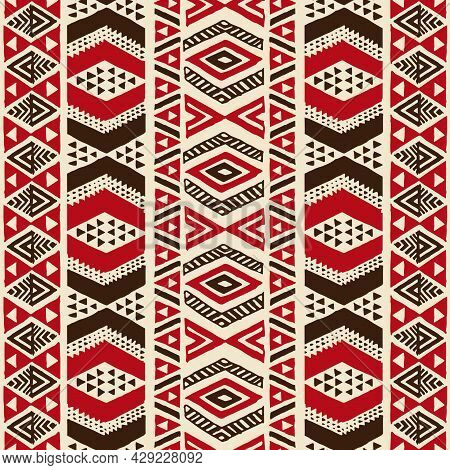 Tropical Native Tapa Pattern With Full Repeat For Polynesian Hawaiian Graphics