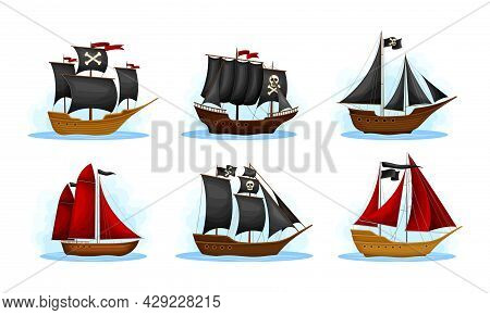 Pirate Ship Or Vessel With Black And Red Sail And Skull On It Vector Set