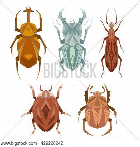 Set Of Geometric Insects With Poly Decorations. Vector Geometrical Stag Beetle, Flying Ant, Ladybug,