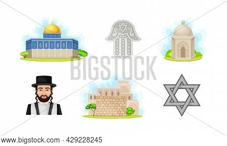 Israeli Or Jewish Attributes With Dome Of The Rock And Man With Locks Vector Set