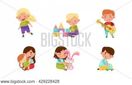 Cute Little Boy And Girl Having Fun Roller Skating And Playing With Toys Vector Set