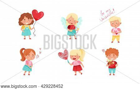 Flushed Boy And Girl Character Feeling Love And Affection Giving Heart And Valentine Vector Set