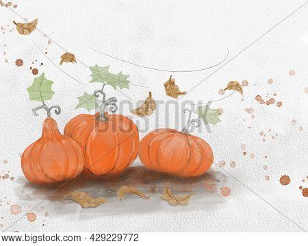 Orange Pumpkins Fruit And Autumn Leaves Flying Illustration Watercolor Painting, Botanical Plant Dra