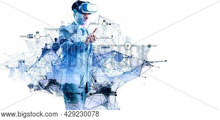 Businessman in VR glasses . Mixed media