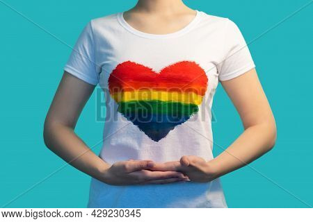 Gay Love. Lgbtqia Movement. Gender Diversity. Sexual Minorities. Woman Hands Pointing At T-shirt Wit
