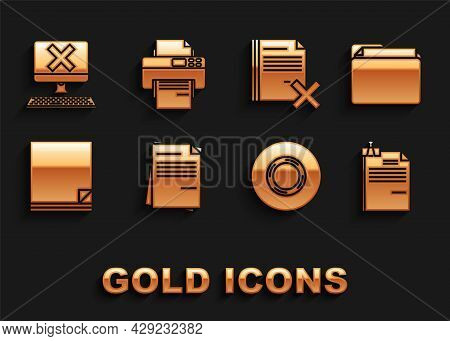 Set File Document, Document Folder, And Binder Clip, Scotch, Delete File, Computer With Keyboard X M
