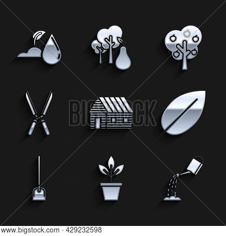 Set Farm House, Flowers In Pot, Watering Can With Water, Leaf, Shovel, Gardening Handmade Scissors F