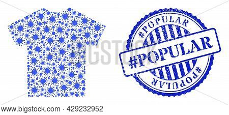 Coronavirus Collage Male T-shirt Icon, And Grunge Hashtag Popular Stamp. Male T-shirt Collage For Br