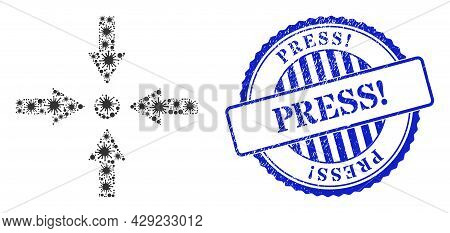 Bacterium Collage Meeting Point Icon, And Grunge Press Exclamation Seal Stamp. Meeting Point Collage