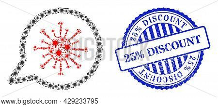 Cell Mosaic Virus Message Icon, And Grunge 25 Percents Discount Seal Stamp. Virus Message Mosaic For