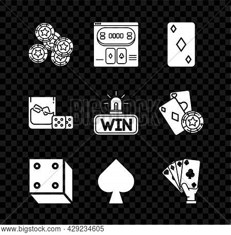 Set Casino Chips, Online Poker Table Game, Playing Card With Diamonds Symbol, Game Dice, Spades, Han