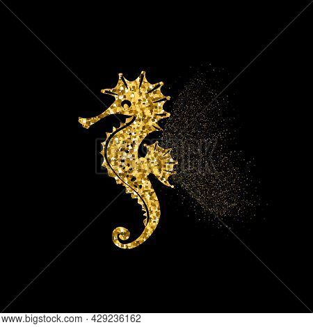 Seahorse Golden Glitter Icon With Glitter Glow. Beautiful Summer Golden Silhouette On Black. For Wed