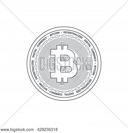 Bitcoin Icon. Cryptocurrency Logo. Digital Cryptographic Currency Bitcoin. Bitcoin Sign Concept. Vec